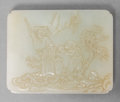 Asian:Chinese, A Chinese White Jade Sage and Attendant Belt Plaque, QingDynasty, 18th-19th century. 2-7/8 inches wide (7.4 cm)...