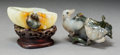 Asian:Chinese, Two Chinese Agate and Jade Brush Washers, Qing Dynasty, 19thcentury. 2-1/4 h x 3-3/4 w x 3 d inches (5.7 x 9.5 x 7.6 cm). ...(Total: 2 Items)