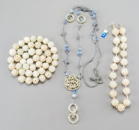 A Group of Chinese Carved White Jade Jewelry 33 inches long (83.8 cm) (strand length, longest)