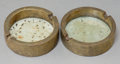 Decorative Arts, Continental:Other , Two Soapstone and Engraved Brass Ashtrays, 20th century. 1 inchhigh x 3-1/8 inches diameter (2.5 x 7.9 cm). ... (Total: 2 Items)