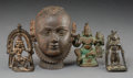 Other, Four Sino-Indian Bronze Figures. 3-7/8 inches high (9.8 cm) (tallest, head). ... (Total: 4 Items)