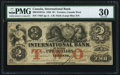 Canadian Currency, Toronto, CW- International Bank of Canada $2 Sept. 15, 1858 Ch. #380-10-10-12a.. ...