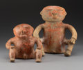 Pre-Columbian:Ceramics, Two Quimbaya/Narino Seated Figures. c. 700 - 1400 AD... (Total: 2Items)