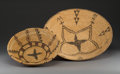 American Indian Art:Baskets, Two Apache Coiled Trays. c. 1920... (Total: 2 Items)