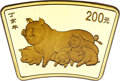 """China, China: People's Republic gold Fan """"Year of the Pig"""" 200 Yuan 2007 MS70 NGC,..."""
