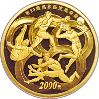 "China: People's Republic gold Proof ""Beijing Olympics - Modern Sports"" 2000 Yuan (5 oz.) 2008 PR70 Ultra Cameo..."