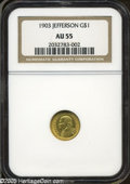 Commemorative Gold: , 1903 G$1 Louisiana Purchase/Jefferson AU55 NGC. ...