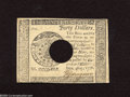 Colonial Notes:Continental Congress Issues, Continental Currency Counterfeit September 26, 1778 $40 ChoiceAbout New.A punch cancelled Continental counterfeit that is a...
