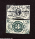 Fractional Currency:Third Issue, Fr. 1227 Narrow Margin Pair 3c Third Issue Choice New. A very attractive narrow margin pair of Washington specimens that are... (2 notes)