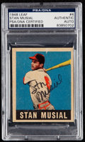 Autographs:Sports Cards, Signed 1948 Leaf Stan Musial #4 PSA/DNA Authentic. ...
