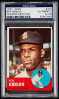 Autographs:Sports Cards, Signed 1963 Topps Bob Gibson #415 PSA/DNA Authentic. ...