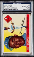 Autographs:Sports Cards, Signed 1955 Topps Jim Gilliam #5 PSA/DNA Authentic. ...