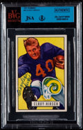 Autographs:Sports Cards, Signed 1951 Bowman Elroy Hirsch #76 BVG-JSA Authentic. ...