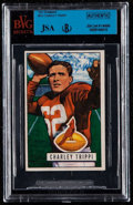 Autographs:Sports Cards, Signed 1951 Bowman Charlie Trippi #137 BVG-JSA Authentic. ...