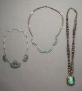 Jewelry:Necklaces, Three Southwest Silver and Turquoise Necklaces... (Total: 3 Items)