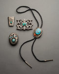 American Indian Art:Jewelry and Silverwork, Four Southwest Silver and Turquoise Jewelry Items... (Total: 4Items)