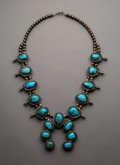 Jewelry:Necklaces, A Navajo Silver and Turquoise Squash Blossom Necklace...
