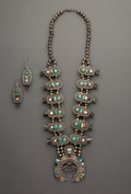 Jewelry:Necklaces, A Zuni Squash Blossom Necklace and Matching Earrings. c. 1955. ...