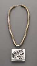 American Indian Art:Jewelry and Silverwork, A Contemporary Navajo Necklace with Two-Sided Hopi SwivelPendant...