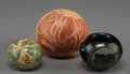 American Indian Art:Pottery, Three Santa Clara / Sioux Etched JarsCamili...
