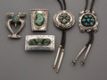 American Indian Art:Jewelry and Silverwork, Five Navajo Silver and Turquoise Jewelry Items... (Total: 5 Items)