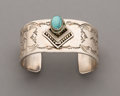 American Indian Art:Jewelry and Silverwork, A Navajo Silver and Turquoise Cuff Bracelet...