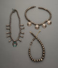 Jewelry:Necklaces, Three Navajo Silver Necklaces... (Total: 3 Items)