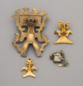 Pre-Columbian:Metal/Gold, Four Ancient Central American Tumbaga Gold Figures... (Total: 4Items)