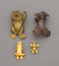 Pre-Columbian:Metal/Gold, Four Ancient Central American Tumbaga Gold Frogs... (Total: 4Items)