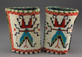 American Indian Art:Beadwork and Quillwork, A Pair of Plains Beaded Hide Cuffs... (Total: 2 Items)