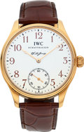 Timepieces:Wristwatch, IWC Rose Gold F.A. Jones Portuguese Limited Edition Wristwatch. ...