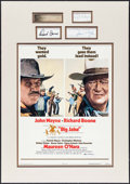 "Movie Posters:Western, Big Jake (National General, 1971). Matted Window Card (14"" X 22"") & Autographed Cards (4) (2"" X 3.25"" - 2"" X 5""). Western.. ..."
