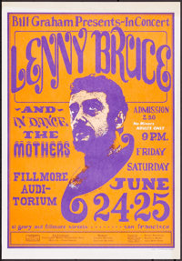 """Lenny Bruce at the Fillmore Auditorium (Bill Graham Productions, 1966). Concert Window Card (14"""" X 20"""") 3rd Pr..."""