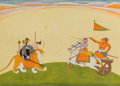 Asian:Other, An Indian Gouache Folio Illustration Depicting Durga BattlingNicumba Guler, North India, late 18th-early 19th century. 7-3/...