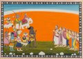 Asian, An Indian Bhagavata Purana Gouache Folio Illustration DepictingIndra and Pantheon Worshipping Devi Forms, North India, late...