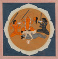 Asian:Other, An Indian Gouache Folio Illustration Depicting Chinnamasta, late18th-early 19th century. 7-3/8 inches high x 7-3/8 inches w...
