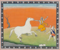Other, An Indian Bhagavata Purana Gouache Folio Illustration Depicting Krishna and Balarama Battling the Horse Demon Keshi, North I...