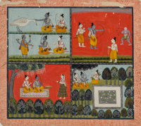 An Indian Gouache Folio Illustration Depicting Four Scenes from The Ramayana, late 18th-early 19th century 15-5/8