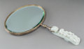 Asian:Chinese, A Chinese White Jade Chilong Belt Hook Mounted as a Hand Mirror. Marks: CHICAGO, STERLING, (struck out mark)...