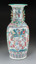 Asian:Chinese, A Chinese Famille Rose Enameled Porcelain Vase. 23-3/4 inches high(60.3 cm). ...
