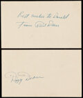 Autographs:Post Cards, 1953 Dizzy & Paul Dean Signed Government Postcard Lot of 2.....
