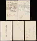 Autographs:Post Cards, 1950s Baseball Greats Signed Government Postcard Lot of 5....