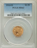 Indian Quarter Eagles: , 1914-D $2 1/2 MS63 PCGS. PCGS Population: (1296/846). NGC Census:(1490/1089). CDN: $840 Whsle. Bid for problem-free NGC/PC...