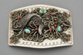 American Indian Art:Jewelry and Silverwork, A Large Navajo Silver and Stone Belt Buckle...
