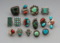 American Indian Art:Jewelry and Silverwork, Fifteen Southwest Silver and Stone Rings... (Total: 15 Items)