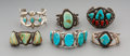 American Indian Art:Jewelry and Silverwork, Six Navajo Silver and Turquoise Bracelets ... (Total: 6 Items)