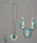 Jewelry:Necklaces, Three Navajo Silver and Turquoise Necklaces... (Total: 3 Items)