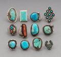 Jewelry:Rings, Twelve Southwest Silver and Stone Rings... (Total: 12 )