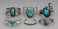 Jewelry:Bracelets, Six Southwest Silver and Turquoise Bracelets... (Total: 6 )
