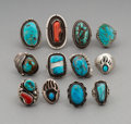 American Indian Art:Jewelry and Silverwork, Twelve Southwest Silver and Stone Rings... (Total: 12 Items)